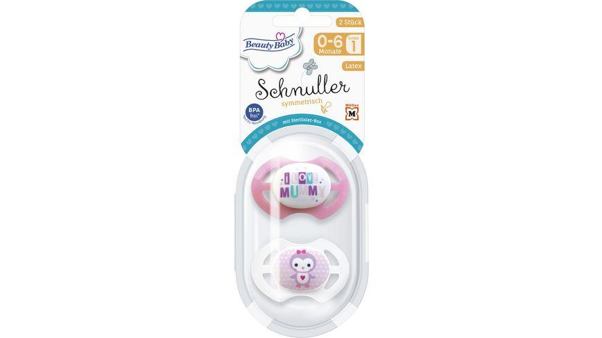 Beauty Baby Schnuller Symmetrisch Latex Größe 1, 0-6