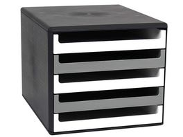 Metzger Mendle Schubladenbox Kunststoff 5 Schuebe weiss dunkelgrau