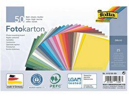 Folia Fotokarton A5 50 Blatt farbig sortiert