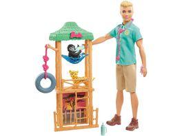 Barbie Ken Wild Tierarzt Spielset Puppe blond mit Leopard und Affe Anziehpuppe