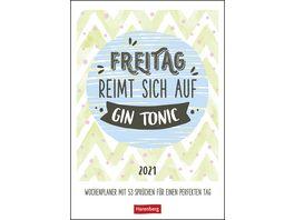 Wochenplaner Freitag reimt sich auf Gin Tonic 25x35 5cm