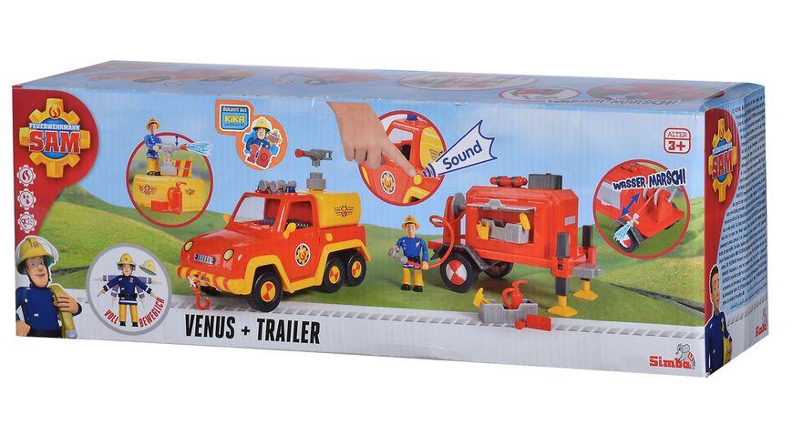 Simba Feuerwehrmann Sam Feuerwehrauto Venus mit Trailer und Figur
