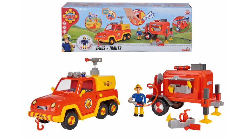 Simba - Feuerwehrmann Sam - Feuerwehrauto Venus mit Trailer und Figur