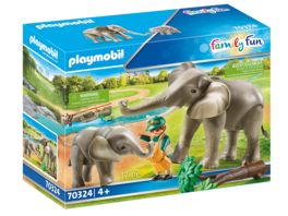 PLAYMOBIL 70324 Family Fun Elefanten im Freigehege