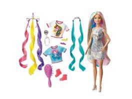 Barbie Fantasie Haar Puppe blond Meerjungfrau und Einhorn Look Anziehpuppe