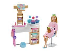 Barbie Wellness Gesichtsmasken Spielset mit Puppe blond mit Knete Anziehpuppe