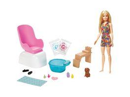 Barbie Mani Pedi Puppe blond Spielset Anziehpuppe Nagelstudio mit Zubehoer