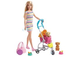 Barbie Hunde Buggy Spielset mit Puppe blond Anziehpuppe Modepuppe