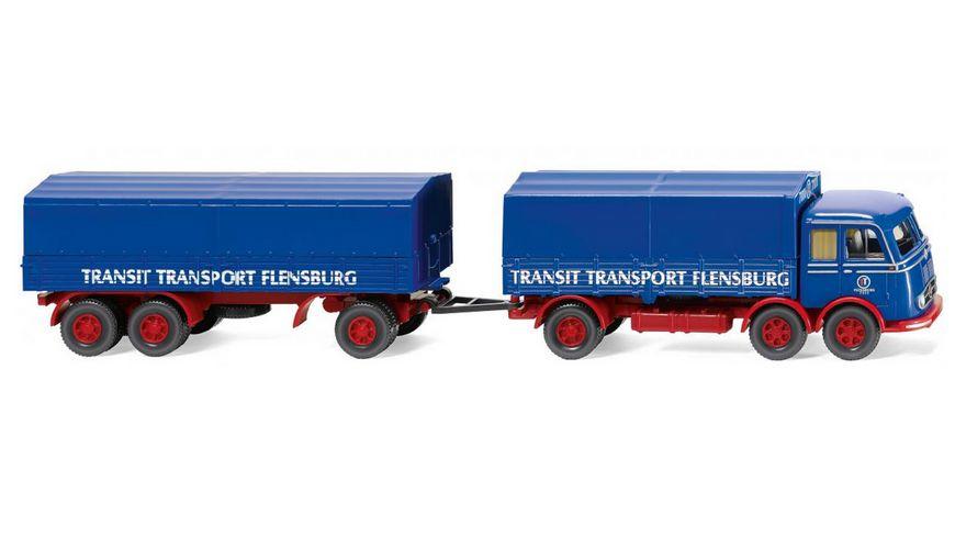 WIKING 042902 1 87 Pritschenhaengerzug MB LP 333 Transit Transport