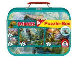 Schmidt Spiele Kinderpuzzle Dinos Puzzle Box im Metallkoffer 2x100 2x60 Teile
