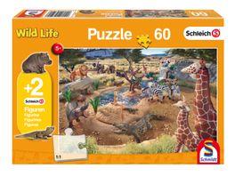 Schmidt Spiele Kinderpuzzle Schleich Wild Life An der Wasserstelle 60 Teile