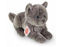 Teddy Hermann Plueschtier Kartaeuser Katze liegend 20 cm