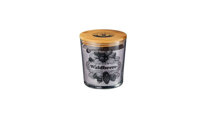 ENGELS KERZEN Duftkerze Kuechenduefte Marmelade im Glas mit Holzdeckel Waldfrucht