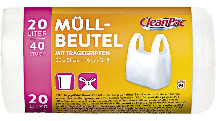 CleanPac Müllbeutel mit Tragegriffen 40x20L