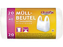 Clean Pac Muellbeutel mit Tragegriffen 40x20L