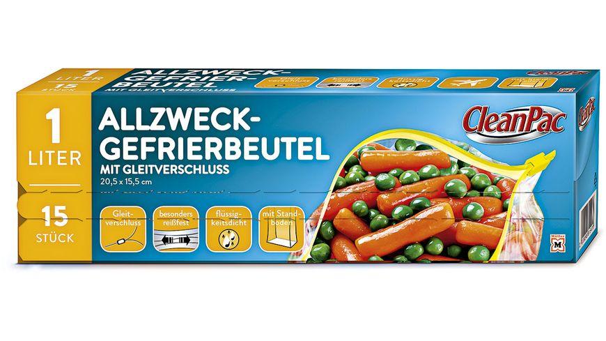 CleanPac Allzweck- Gefrierbeutel mit Gleitverschluss 15x1L