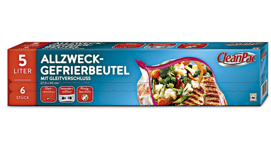 CleanPac Allzweck-Gefrierbeutel mit Gleitverschluss 6x5L