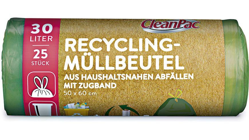 Clean Pac Recycling Muellbeutel mit Zugband 25x30L