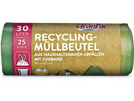 CleanPac Recycling Muellbeutel mit Zugband 25x30L