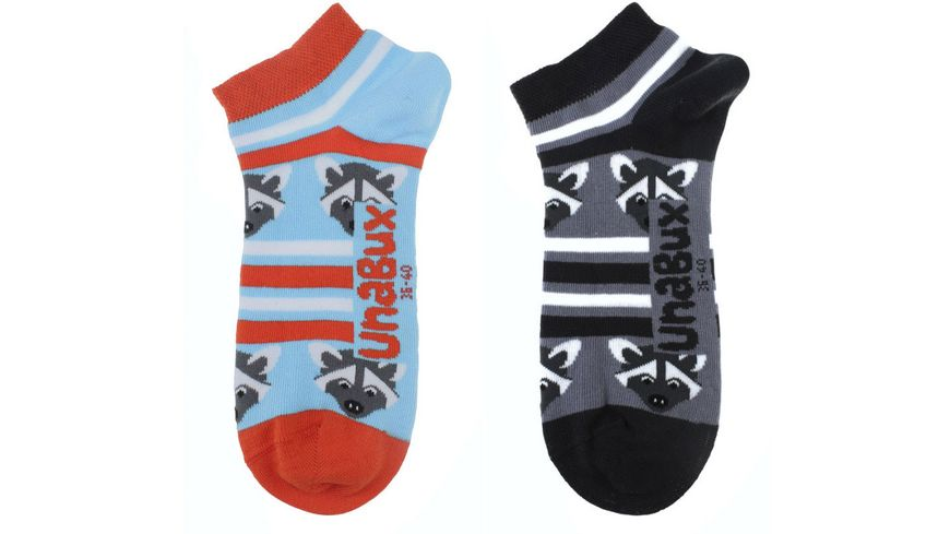 Unabux Unisex Sneaker Socken Waschbär 2er Pack