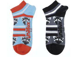 Unabux Unisex Sneaker Socken Waschbaer 2er Pack
