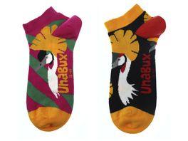 Unabux Unisex Sneaker Socken Kronenkranich 2er Pack