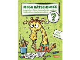 Mega Raetselblock Labyrinthe Fehler finden Punkte verbinden Zahlenraetsel Buchstabenraetsel ab 7 Jahre