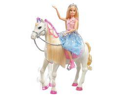 Barbie Prinzessinnen Abenteuer Tanzendes Pferd mit Puppe Licht Geraeuschen
