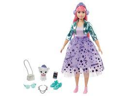 Barbie Prinzessinnen Abenteuer Daisy Puppe rosa Haare mit Huendchen Anziehpuppe