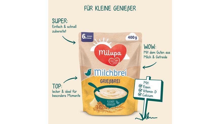 Milupa Milchbrei Griessbrei Miluvit Kleine Geniesser ab dem 6 Monat