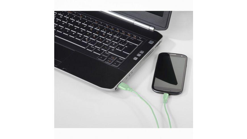Hama USB C Kabel Flexi Slim vergoldet verdrehsicher Gruen 0 75 m
