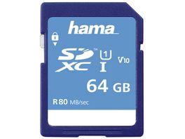 Hama SDXC 64GB Class 10 UHS I 80MB S