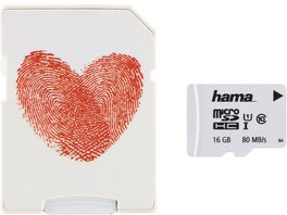 Hama microSDHC 16GB Class 10 UHS I 80MB s Adapter Herz Schmale Verpackung