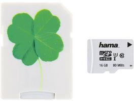 Hama microSDHC 16GB Class 10 UHS I 80MB s Adapter Kleeblatt Schmale Verpack
