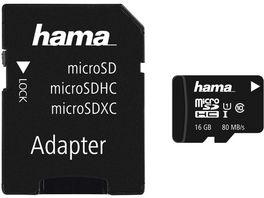 Hama microSDHC 16GB Class 10 UHS I 80MB s Adapter Foto