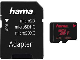 Hama microSDXC 64GB UHS Speed Class 3 UHS I 80MB s Adapter Foto