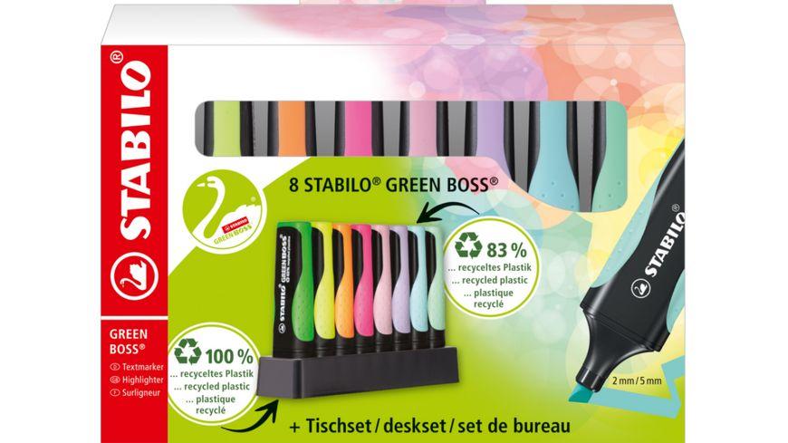 STABILO® Umweltfreundlicher Textmarker - STABILO GREEN BOSS 8er Tischset - mit jeweils 4 verschiedenen Pastell- und Leuchtfarben