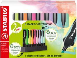 STABILO Umweltfreundlicher Textmarker STABILO GREEN BOSS 8er Tischset mit jeweils 4 verschiedenen Pastell und Leuchtfarben