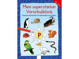 Konzentrationsspiele mit Buchstaben und Zahlen Mein superstarker VORSCHULBLOCK