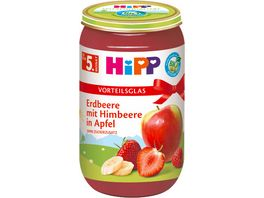 HiPP Bio Fruechte Erdbeere mit Himbeere in Apfel