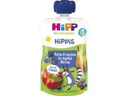HiPP Bio HiPPiS im Quetschbeutel Rote Fruechte in Apfel Birne mit Eisen