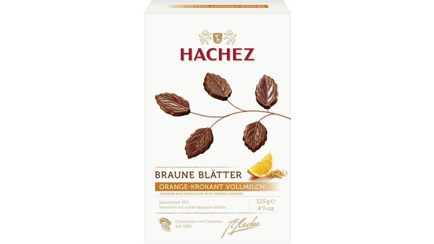 Hachez Braune Blätter Vollmilch Chocolade mit Orangengeschmack