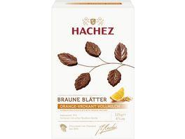 Hachez Braune Blaetter Vollmilch Chocolade mit Orangengeschmack