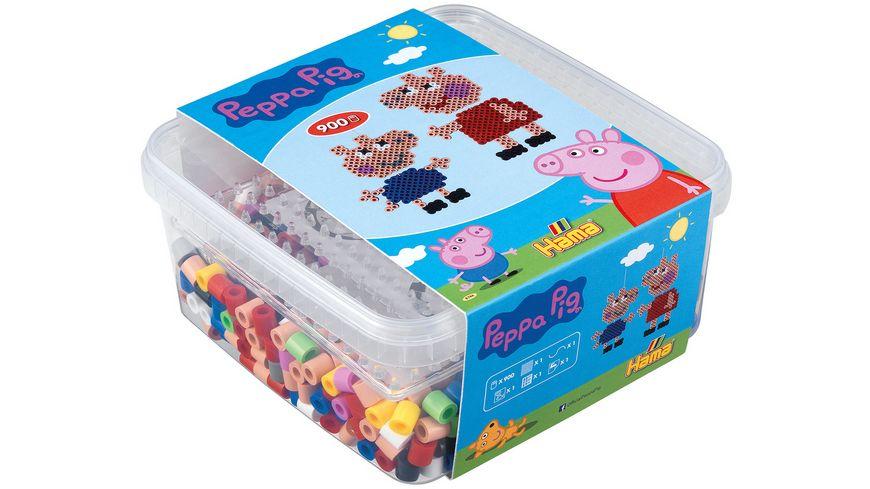Hama Buegelperlen Box mit Perlen und Stiftplatte Peppa Pig ca 900 Perlen