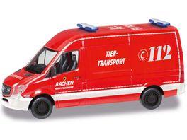 Herpa 095389 Mercedes Benz Sprinter 13 Kasten HD Feuerwehr Aachen Tier Transport