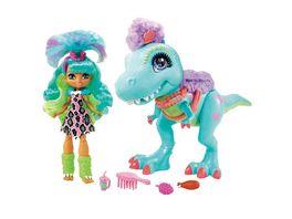 Cave Club Spielset mit Rockelle Puppe und Tyrasaurus Dinosaurierfigur