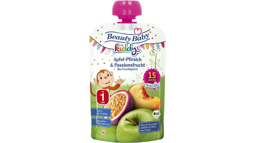 Beauty Baby Quetschie kiddys Bio- Apfel-Pfirsich & Passionsfrucht