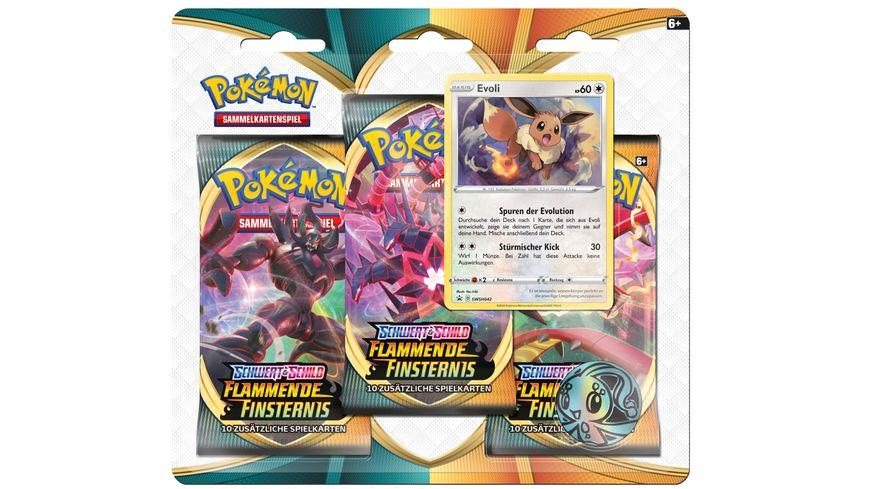Pokemon Sammelkartenspiel Schwert Schild Flammende Finsternis 3 Pack Blister DE sortiert