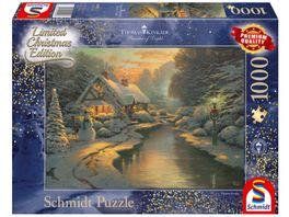 Schmidt Spiele Erwachsenenpuzzle Am Weihnachtsabend Thomas Kinkade 1000 Teile