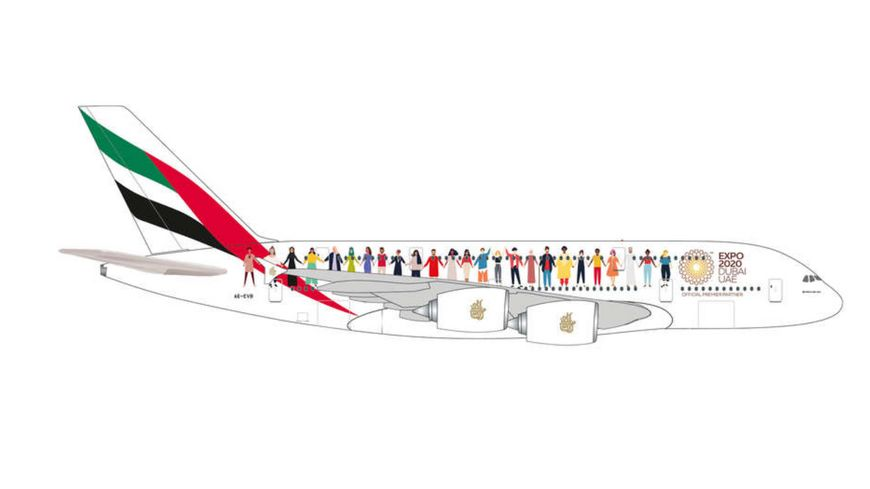 """Herpa 534352 - Emirates """"Year of Tolerance"""" Airbus A380"""